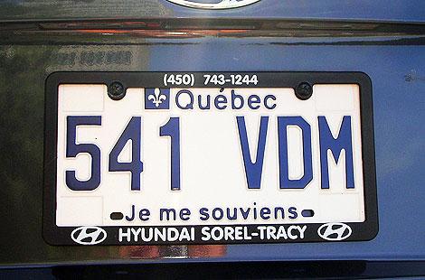 Matrícula de un coche de Quebec, con el 'Je me souviens'.
