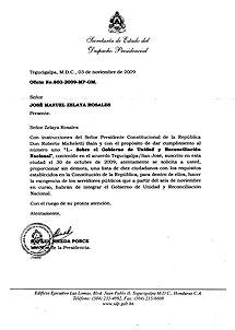 Carta enviada por Micheletti. (Pulse para ampliar)