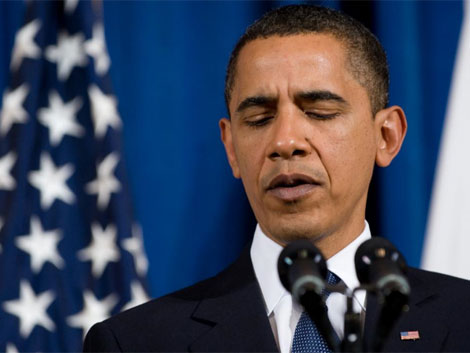 El presidente durante el discurso en Departamento del Interior. | Afp