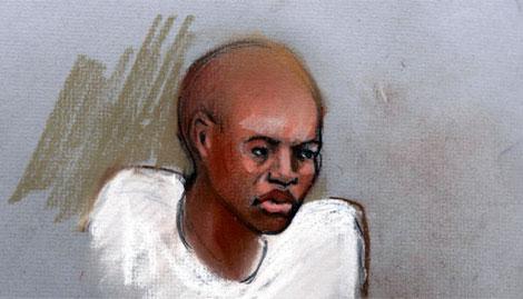 Dibujo de Umar Farouk Abdulmutallab durante el juicio. | Efe