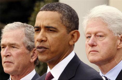 Los presidentes Bush, Obama y Clinton.| Reuters