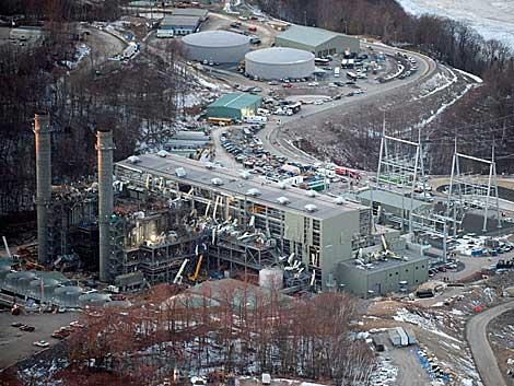 Vista aérea de la central Kleen Energy Systems, en Middletown. AFP