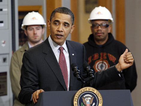 Obama habla en el centro internacional de entrenamiento de los trabajadores electricos de EEUU. | Reuters