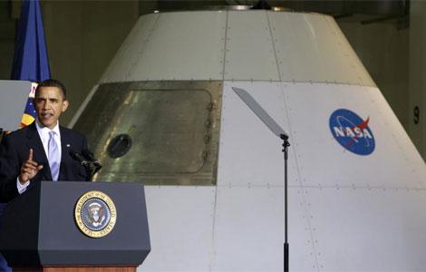 Obama al pronunciar su discurso en las instalaciones de la NASA en Cabo Cañaveral. | Reuters
