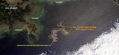 Vista aérea de la mancha de crudo que en el Golfo de México.   Efe (Cedida por la Nasa)