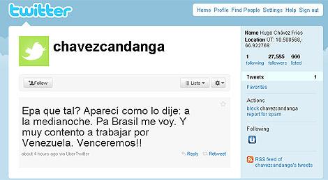Imagen del primer 'tweet' del presidente. | ELMUNDO.es