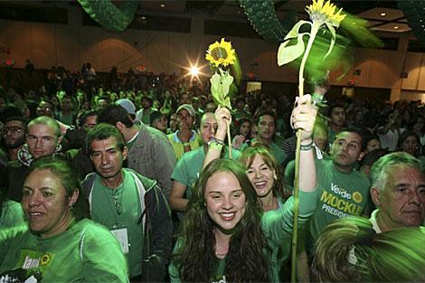 Los seguidores de Mockus festejan haber pasado la segunda vuelta. | AP