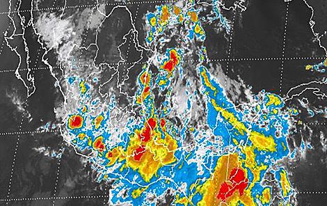El mapa del Servicio Meteorológico de México, este jueves, cubre de lluvias casi todo el país.
