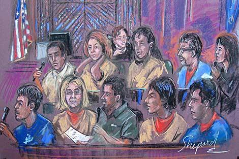 Retrato judicial de los 10 espías rusos. | AFP