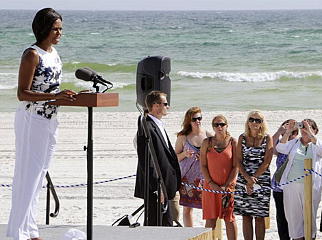 Michelle Obama en Panama City Beah. I AFP