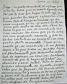 La carta que habría escrito el político.