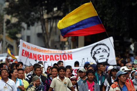 Una protesta indígena en Colombia. | Efe