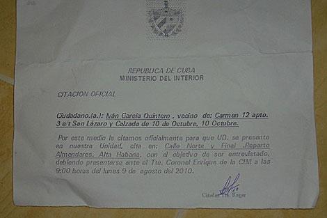 Citación oficial recibida el pasado 7 de agosto.   I.G.