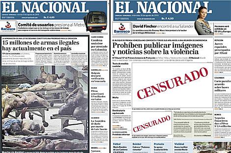 Montaje de dos portadas de 'El Nacional' tras la polémica foto. | Reuters