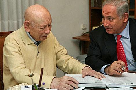 Ben Zion Natanyahu junto a su hijo el primer ministro.   Archivo
