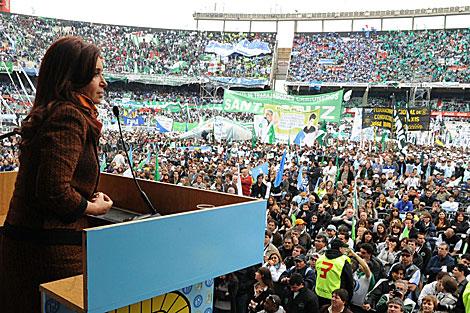 Cristina Fernández durante un acto partidario el 15 de octubre.   Efe