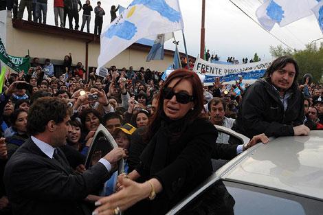 La presidenta argentina, durante los funerales de su marido. | Afp