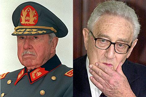 El fallecido ex dictador Augusto Pinochet y el secretario de Estado de Nixon, Henry Kissinger.