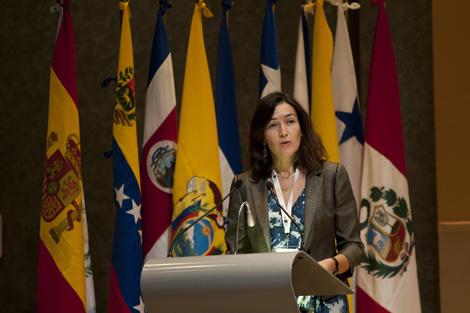 La ministra de Cultura de España, Ángeles González-Sinde durante el discurso de apertura.  Efe
