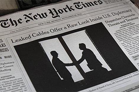La portada del New York Times (29 de noviembre) dedicada a las filtraciones.   Reuters