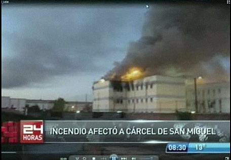 Imágenes de la televisión nacional del incendio.