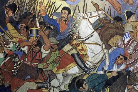 Simón Bolivar en su caballo blanco. Mural de Fernando Leal.