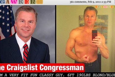 El congresista con traje y sin camiseta en la web de contactos.   Gawker.com