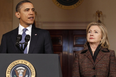 Obama y Hilary Clinton en rueda de prensa. I Reuters