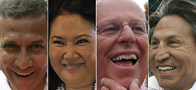 Ollanta Humala, Keiko Fujimori, Pedro Pablo Kuczynski y Alejandro Toledo. | Efe