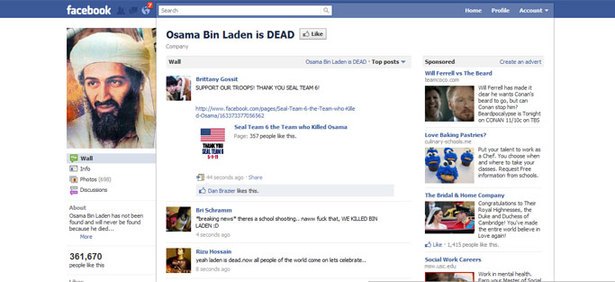 La página de Facebook 'Osama Bin Laden is dead'.