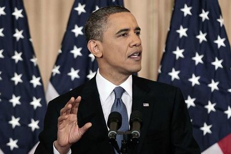 Obama en su discurso en el Departamento de Estado. | AP