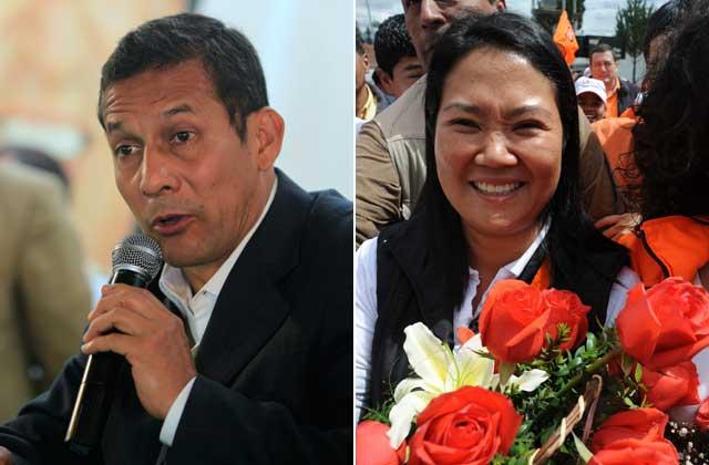 Los candidatos presidenciales peruanos Ollanta Humala y Keiko Fujimori.