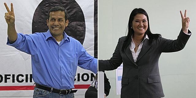 Humala y Fujimori depositan sus respectivos votos en las urnas.