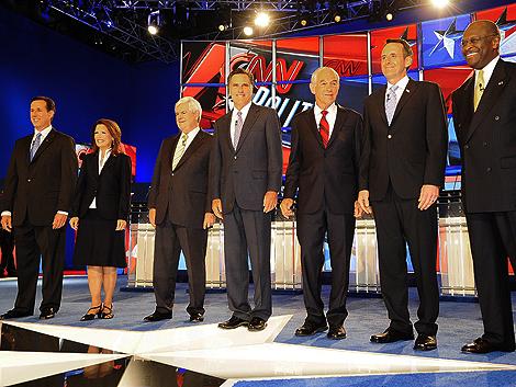 Rick Santorum, Michele Bachman, Newt Gingrich, Mitt Romney, Ron Paul, Tim Pawlenty y Herman Cain.   Efe