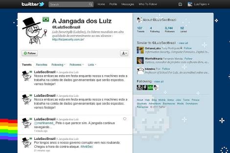 La cuenta en Twitter de @LulzSecBrazil.