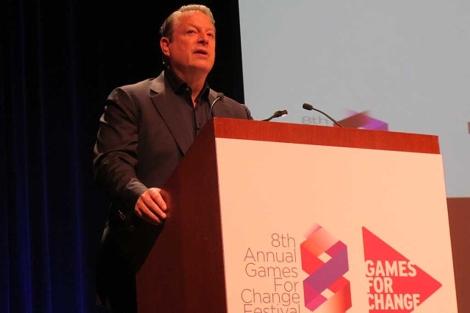 Al Gore habla durante la conferencia de 'Games for a change'. | Carlos Fresneda
