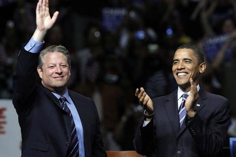 Al Gore en un acto de apoyo a Obama en su candidatura presidencial de 2008. | AP
