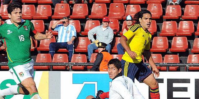 Falcao en el momento de su primer tanto ante Bolivia. | Efe