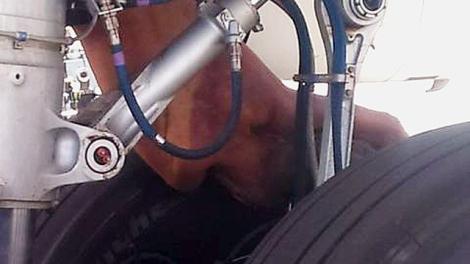 El cuerpo del joven cubano en el tren de aterrizaje del avión.