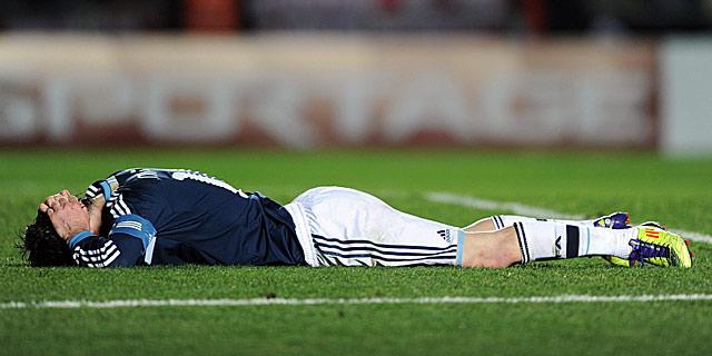 Leo Messi se lamenta durante un partido de la Copa América 2011. I AFP