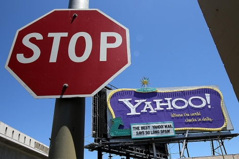 Un cartel publicitario de Yahoo! en San Francisco.   AFP