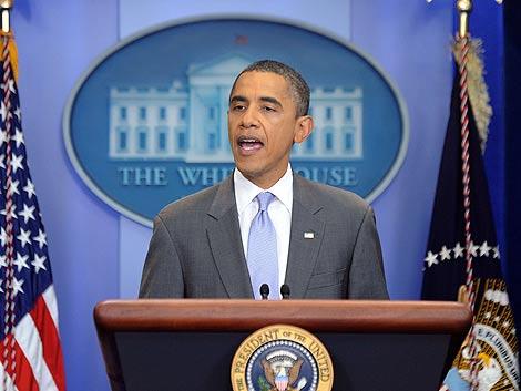 El presidente de EEUU, durante el anuncio del acuerdo para la deuda.   Afp