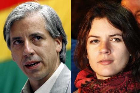 El vicepresidente de Bolivia, Álvaro García Linera, y la líder estudiantil chilena, Camila Vallejo.