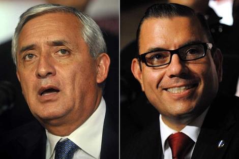 El ex militar derechista Otto Pérez Molina y el empresario también derechista Manuel Baldizón.