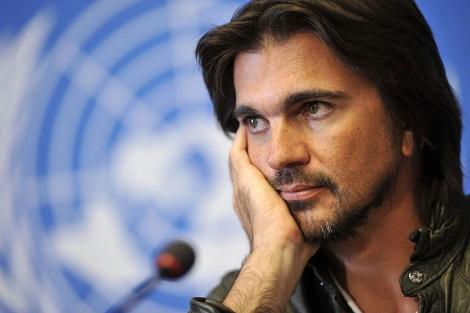 El cantante Juanes en la sede de la ONU en Ginebra en septiembre de 2011.   AFP