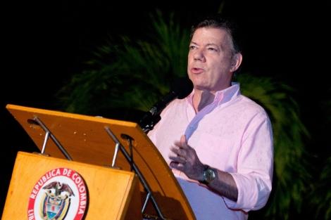 Rueda de prensa del presidente Santos tras la muerte del líder de las FARC.   Reuters