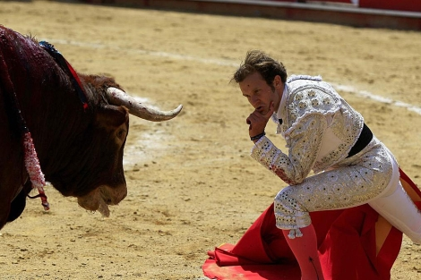El torero ecuatoriano Álvaro Samper lidia un toro. | Efe