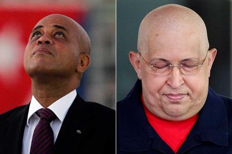 Los presidentes de Haití, Michel Martelly, y Venezuela, Hugo Chávez.   Reuters