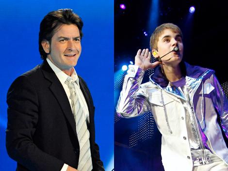 El actor Charlie Sheen y el cantante Justin Bieber. | AP / Sergio González