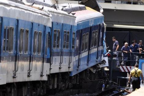 Detalle del tren siniestrado en Buenos Aires en la estación Once. | Efe